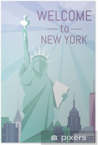 Welcome to New York poster flat design Self-Adhesive Poster - Buildings and Architecture