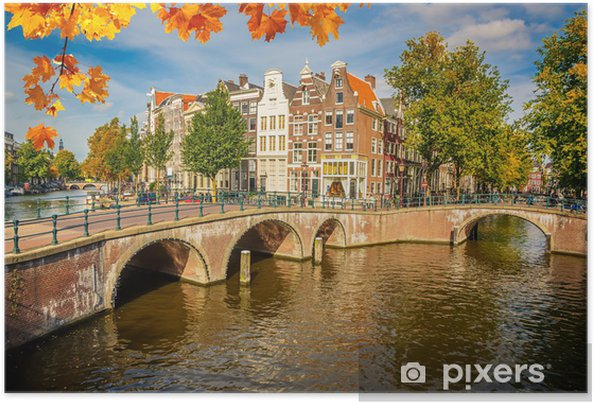 Amsterdam bybillede Selvklæbende plakat -