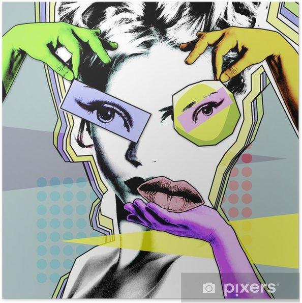 Kvindelig skønhed og plastikkirurgi. retro plakat i pop art .. Selvklæbende plakat - Livsstil