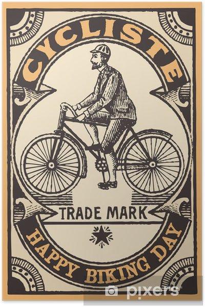 Le cykliste Selvklæbende plakat - På Vejene