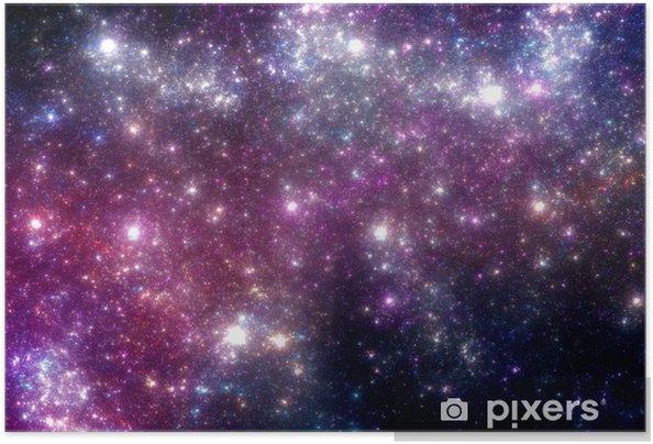 Stjerner baggrund. Lilla galakse. Selvklæbende plakat -
