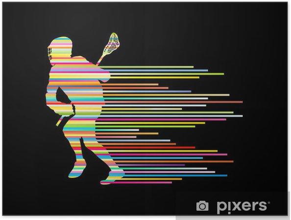 Selvklebende plakat Lacrosse spiller i action vektor bakgrunn konsept laget av stri - Andre Følelser