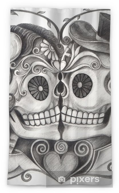54fa02ef9 Art Skull Day of the dead.Art design skull wedding in love action smiley  face day of the dead festival hand pencil drawing on paper. Sheer Window  Curtain