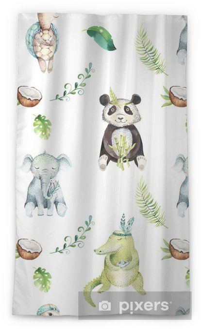 Baby Animals Nursery Isolated Seamless Pattern Watercolor Boho Tropical Drawing Child Panda Cute Crocodile Tropic Elephant