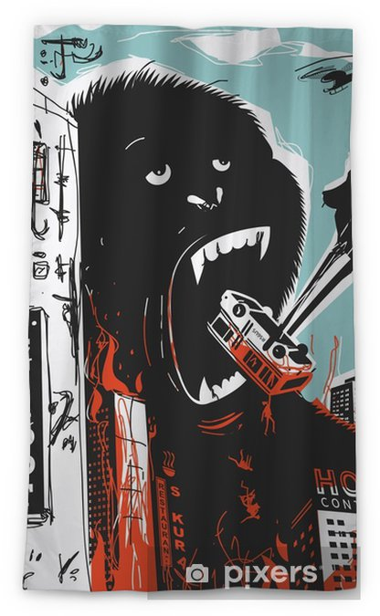 Big Gorilla destroys City Sheer Window Curtain - Animals
