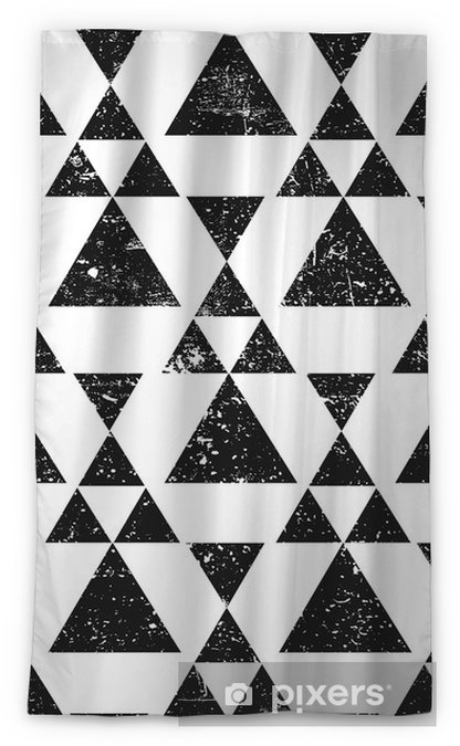 Black geometric triangle background. Abstract seamless pattern grunge textured. Sheer Window Curtain - Graphic Resources