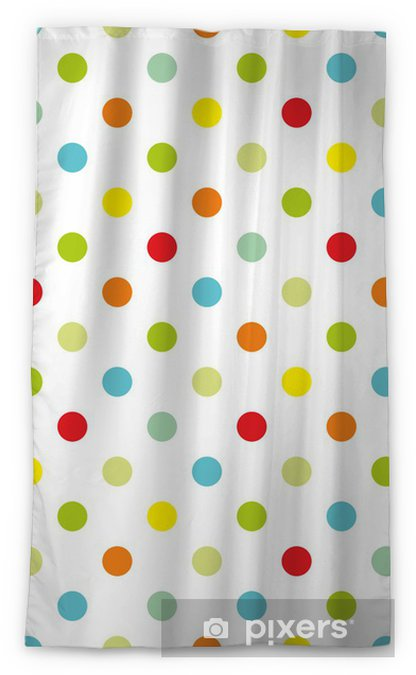 Colorful polka dots white background seamless vector pattern Sheer Window Curtain - Themes