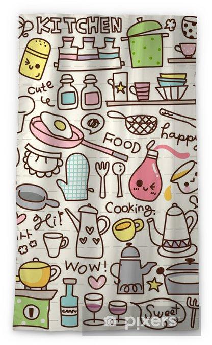 Cute Doodle Kitchen Stuff Sheer Window Curtain Pixers We Live To Change