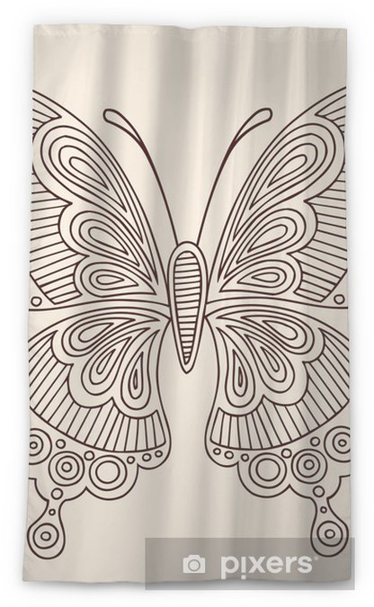 Henna Tattoo Butterfly Doodle Vector Design Sheer Window Curtain