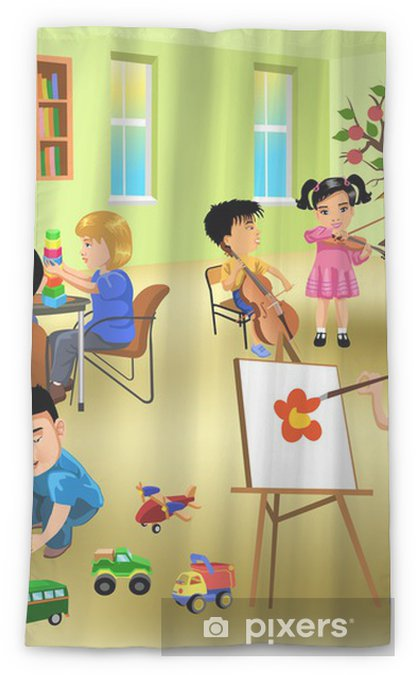 Kids Doing Different Activities In Kindergarten Sheer Window Curtain