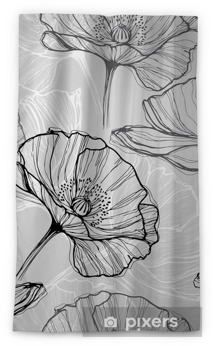 Monochrome seamless pattern with poppies. Hand-drawn floral background Sheer Window Curtain - Flowers and plants