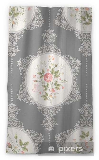seamless floral pattern with lace and rose bouquet on grey background Sheer Window Curtain - Plants and Flowers