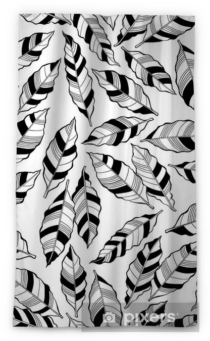 Seamless monochrome pattern with striped abstract leaves. Sheer Window Curtain - Plants and Flowers