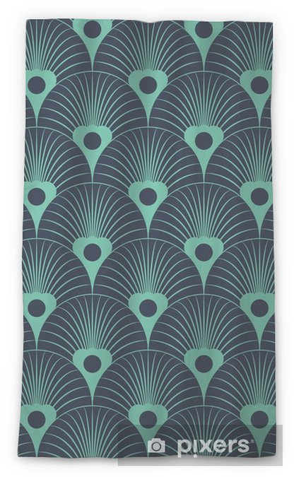 Seamless neon blue art deco floral overlaying pattern vector Sheer Window Curtain - Graphic Resources