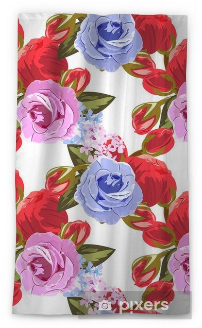 Seamless pattern with beautiful roses. Hand-drawn floral background for printing on fabric, clothing, home textiles, wallpaper, gift wrapping. Romantic design. Sheer Window Curtain - Graphic Resources