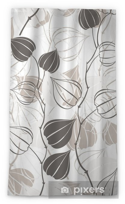 Seamless pattern with branches physalis. Abstract floral background. Sheer Window Curtain - Plants and Flowers