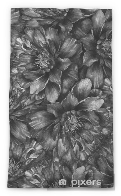 Seamless Watercolor Pattern With Black And White Peonies Hand Drawn Monochrome Illustration Design For Fabric Textile Wrapping Paper Card
