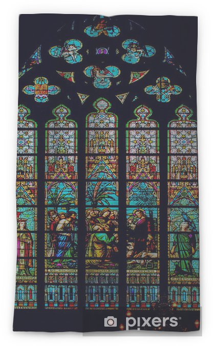 Stained Gl Window Church Belgium Flanders Bruges Sheer Curtain