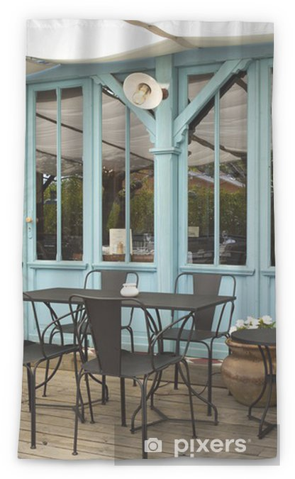 Terrasse Café Bistrot Restaurant Bois Mobilier Cabane Sheer Window Curtain