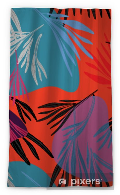 Tropical colorful palm leaf background. Vector bright summer floral illustration. Foliage nature tree print. Exotic forest plant.. Sheer Window Curtain - Graphic Resources