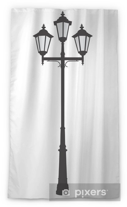 Vector Ilration Of An Old Fashioned Street Lamppost Sheer Window Curtain