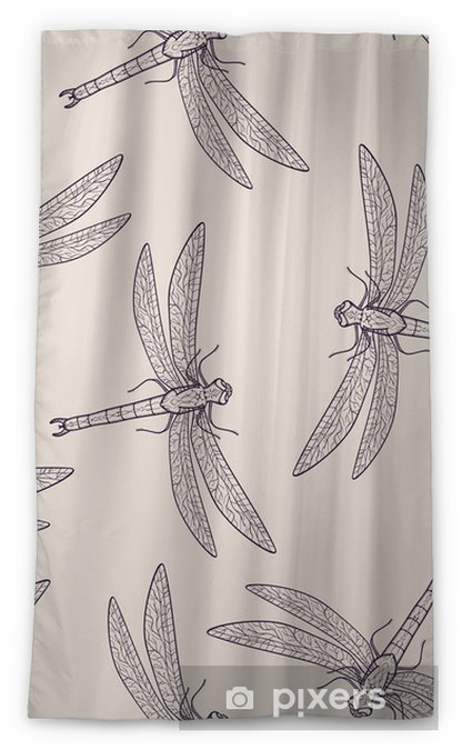 Vector Seamless Pattern With Dragonfly