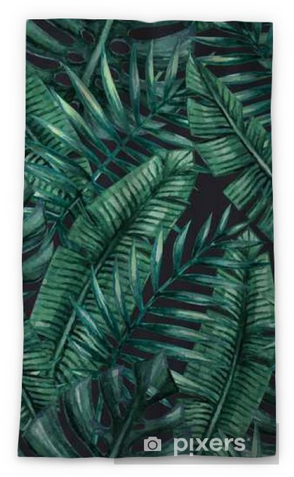 Watercolor tropical palm leaves seamless pattern. Vector illustration. Sheer Window Curtain - Graphic Resources
