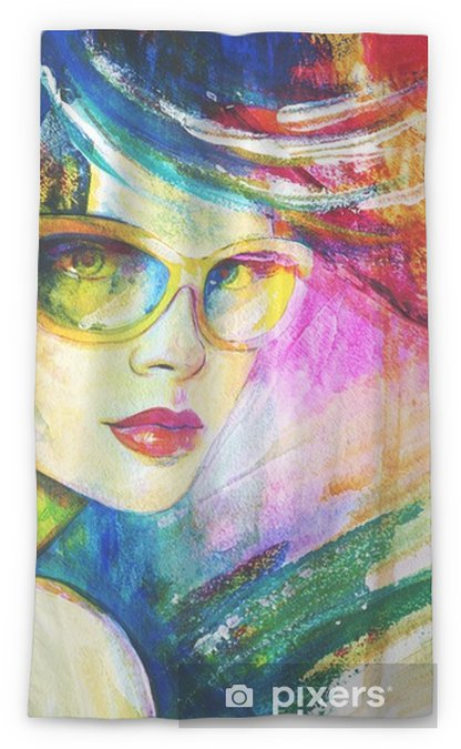 e31980af7a8 Woman with sunglasses. Fashion illustration. Watercolor painting Sheer  Window Curtain