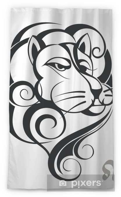 Zodiac sign Leo  Tattoo design Sheer Window Curtain