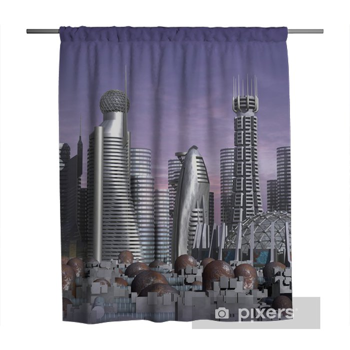 3d model of sci-fi city with futuristic skyscraper Shower Curtain