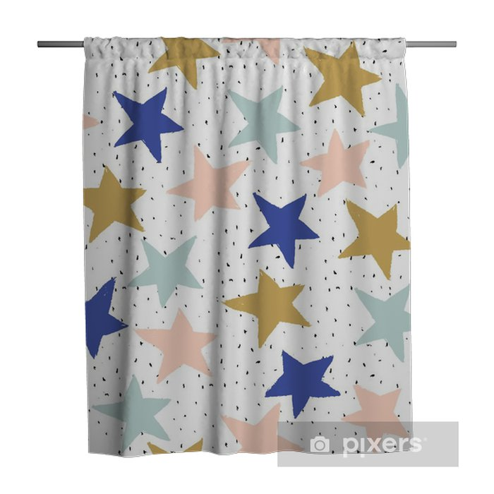 Abstract hand drawn pattern with stars. For wrapping, wallpaper, fabric Shower Curtain - Graphic Resources