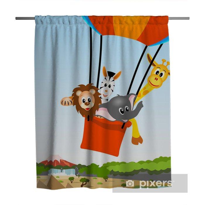 African Animals In Hot Air Balloon Shower Curtain