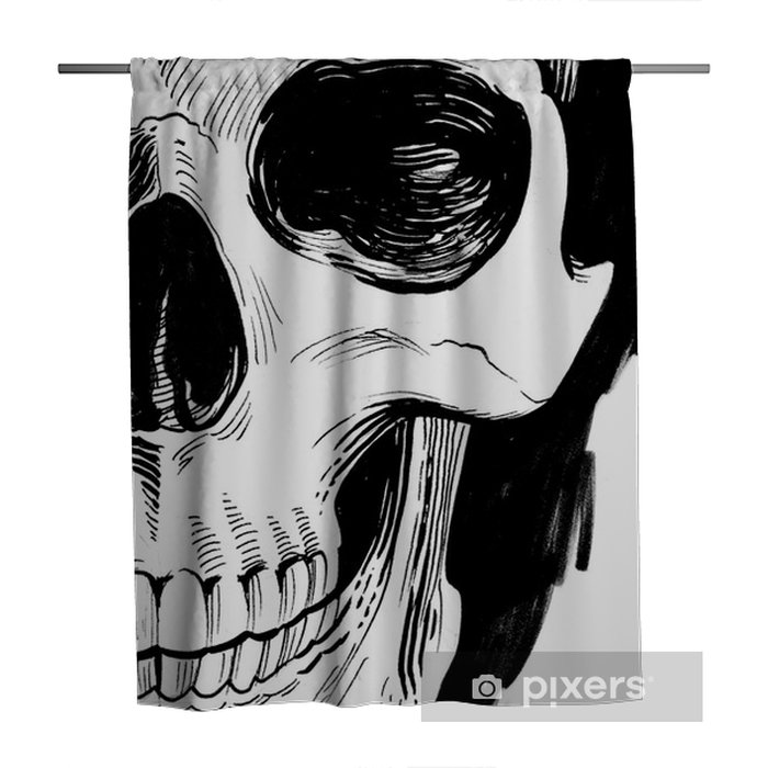 Black and white skull Shower Curtain - People