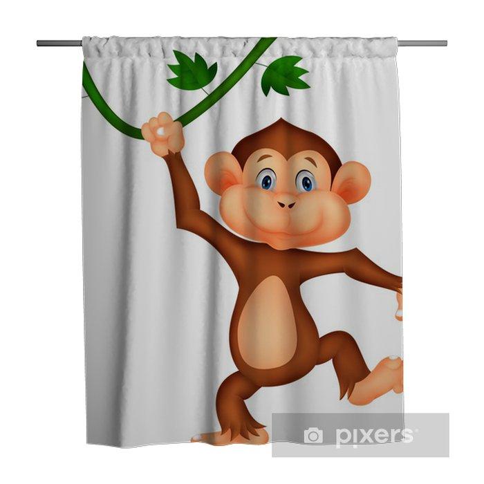 cute monkey cartoon hanging shower curtain