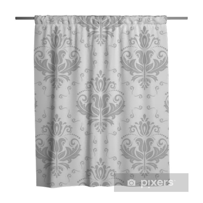 Damask classic light silver pattern. Seamless abstract background with repeating elements Shower Curtain - Graphic Resources