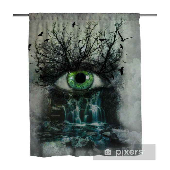 Dark Abstract Nature Painted On Female Face Shower Curtain