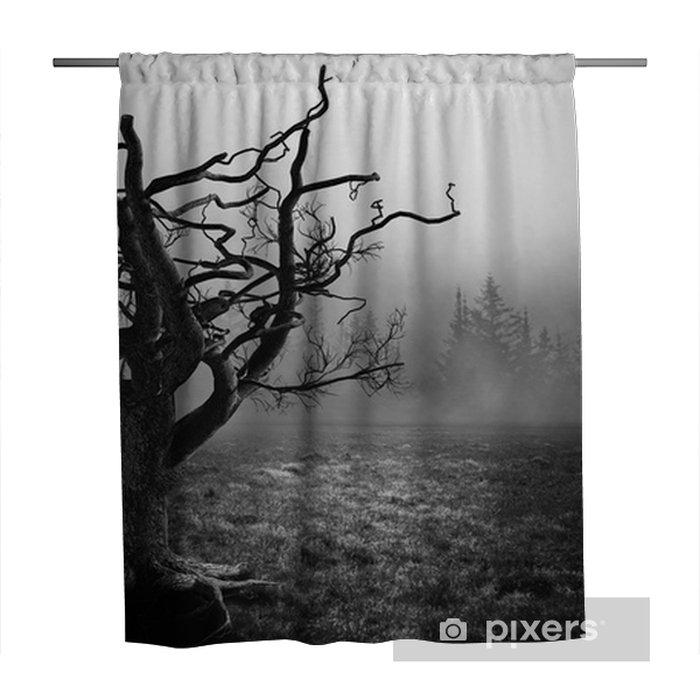 dark horror spooky tree shower curtain