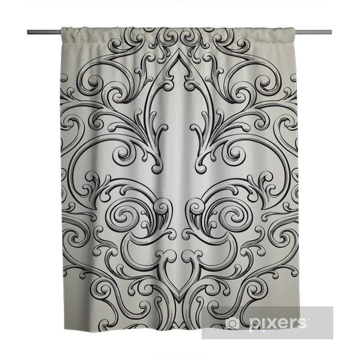 Fancy Fleur De Lis Frame Shower Curtain