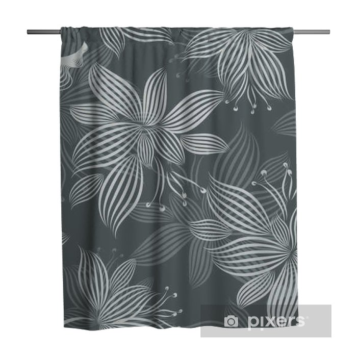 Grey Ornamental Flowers Seamless Pattern Shower Curtain - Plants and Flowers