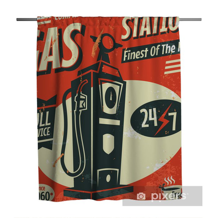 Grunge Retro Gas Station Sign Vector Illustration Shower Curtain Pixers We Live To Change
