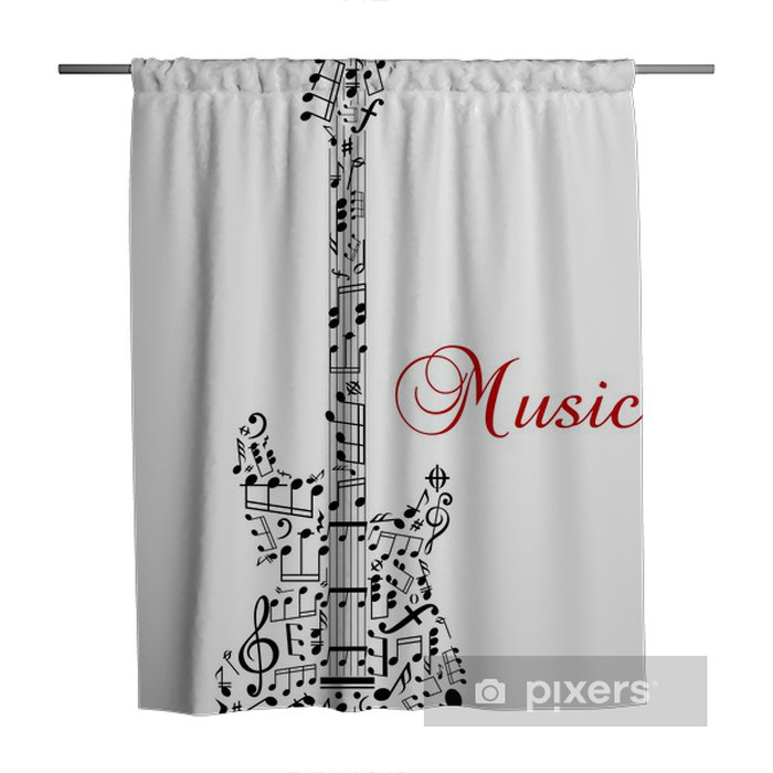 Guitar Silhouette With Musical Notes Shower Curtain