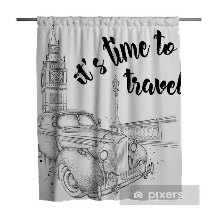 Hand drawn vintage postcard  A car on background  London, Big Ben  Vector  illustration Shower Curtain