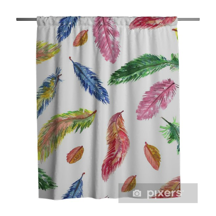Hand drawn watercolor seamless pattern. Feathers. Shower Curtain - Graphic Resources