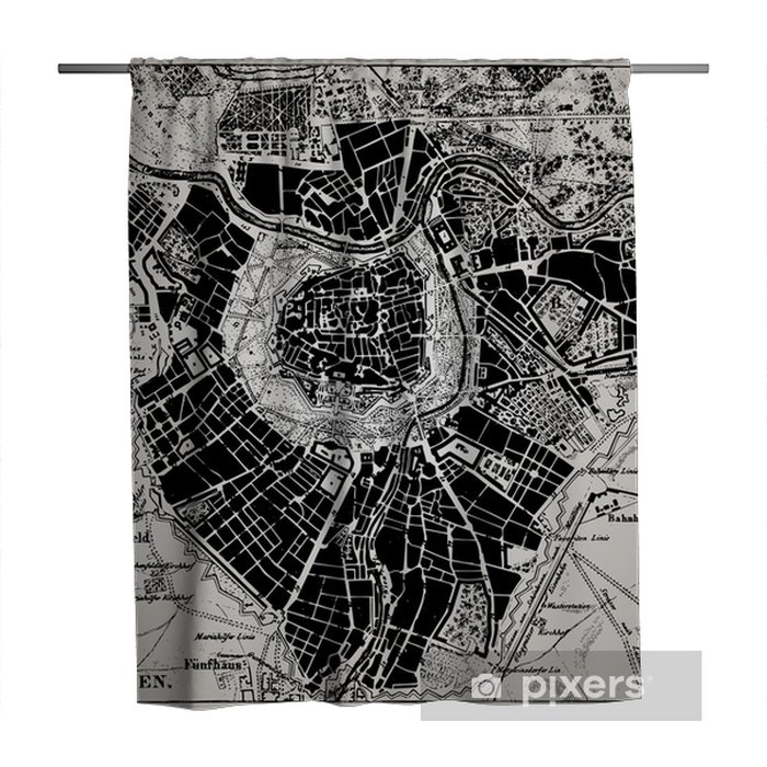 Historical map of Wien, Austria. Shower Curtain - Themes
