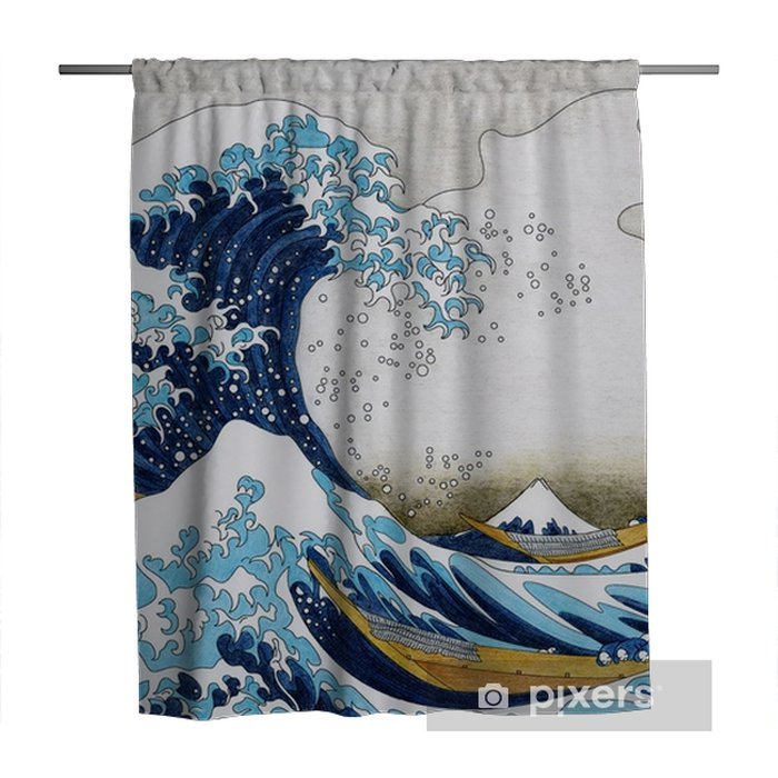 Hokusai The Great Wave Of Kanagawa adult coloring page Shower Curtain - Graphic Resources