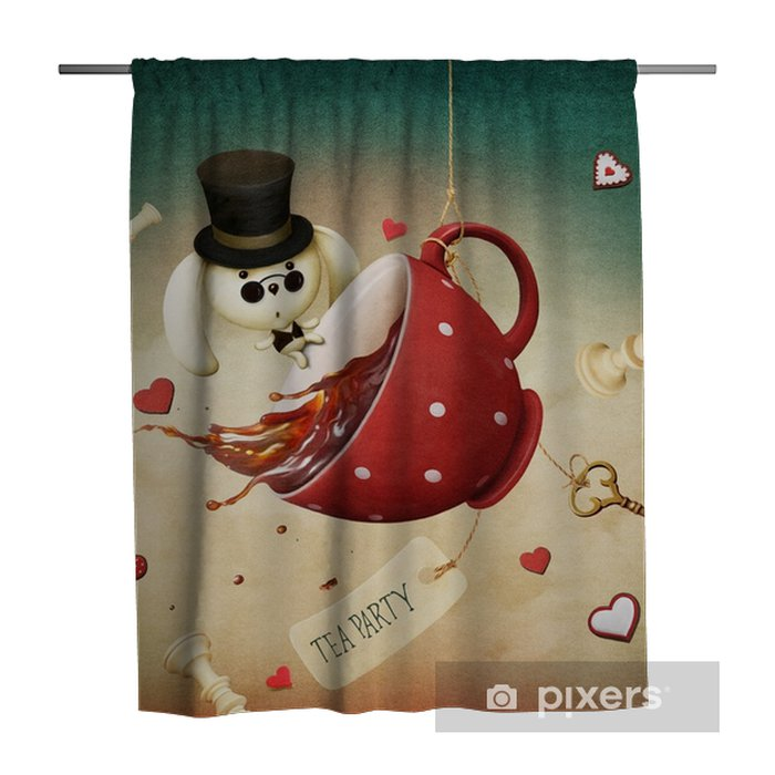 Illustration of fantasy with red cup of tea and rabbit Shower Curtain - Graphic Resources