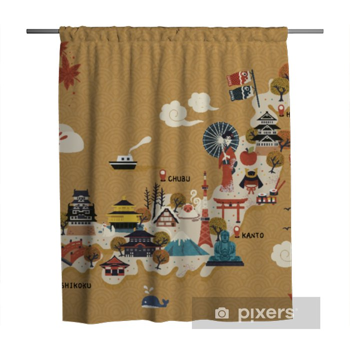 Japanese travel map Shower Curtain - Travel