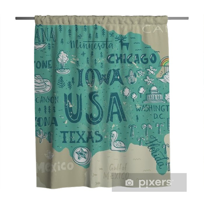 Map Of Usa Shower Curtain Pixers