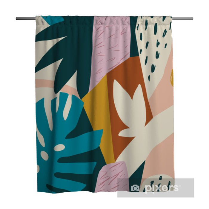 Modern exotic jungle fruits and plants illustration in vector. Shower Curtain - Plants and Flowers