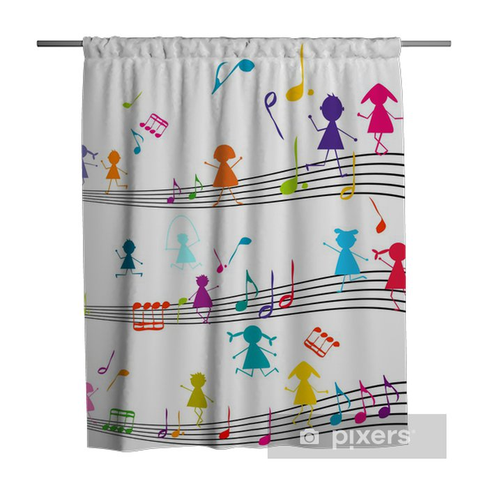 Music Note With Kids Playing The Musical Notes Shower Curtain